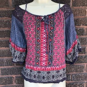 Angie Bohemian Cold Shoulder Blouse